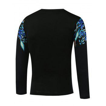 Long Sleeve Round Neck Flower Printed T-Shirt - BLACK 2XL