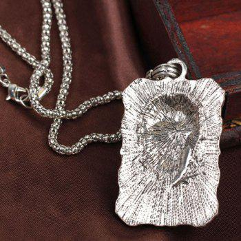 Rhinestone Etched Skull Necklace - SILVER GRAY