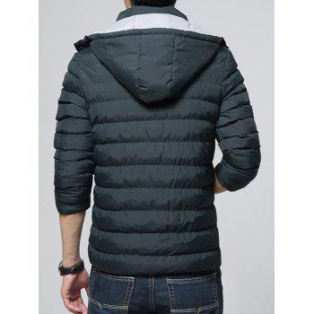 Color Block Zip-Up Hooded Padded Jacket - DEEP GREEN L