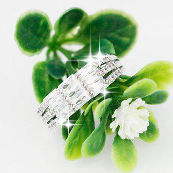 Faux Crystal Layered Rectangle Ring - SILVER ONE-SIZE