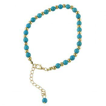 Rhinestone Faux Turquoise Flower Charm Beaded Anklets - GOLDEN