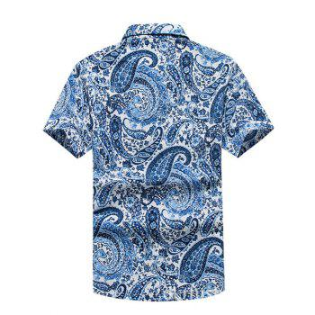 Turn-Down Collar Paisley Printed Hawaiian Shirt - BLUE M