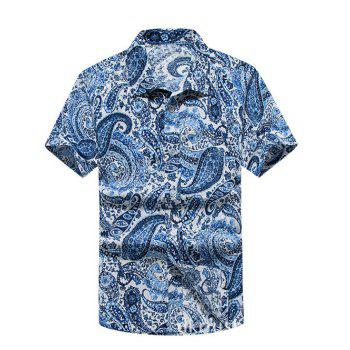 Turn-Down Collar Paisley Printed Hawaiian Shirt - BLUE 3XL