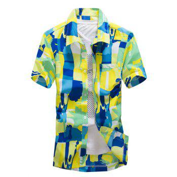 Short Sleeve Abstract Printed Hawaiian Shirt - GREEN GREEN
