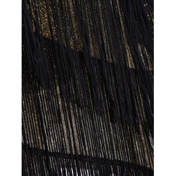 Stand Neck Tassels Sequins Party Dress - BLACK ONE SIZE