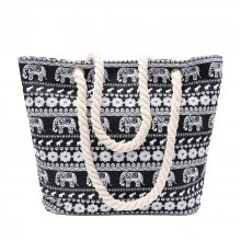Ethnic Style Elephant Print and Black Design Women's Shoulder Bag