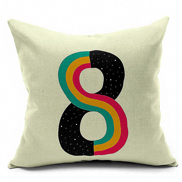 Number 8 Printed Sofa Cushion Pillow Case handpainted pineapple and fern printed pillow case