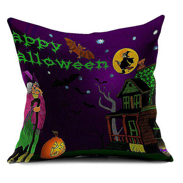 Home Decor Halloween Letter Sofa Cushion Pillow Case - DEEP PURPLE