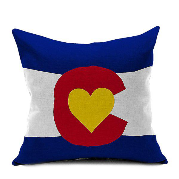 Flag Heart Printed Sofa Cushion Pillow Case - COLORMIX