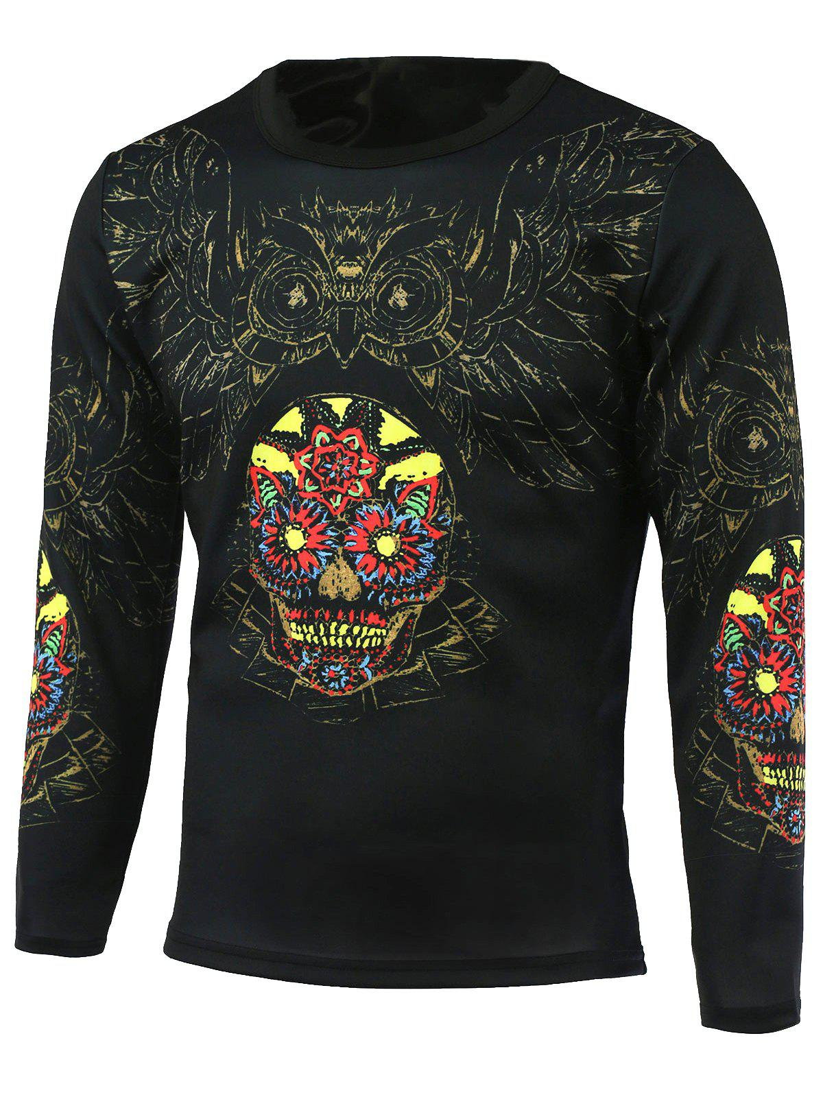 Flower and Owl Printed Round Neck T-Shirt - BLACK M