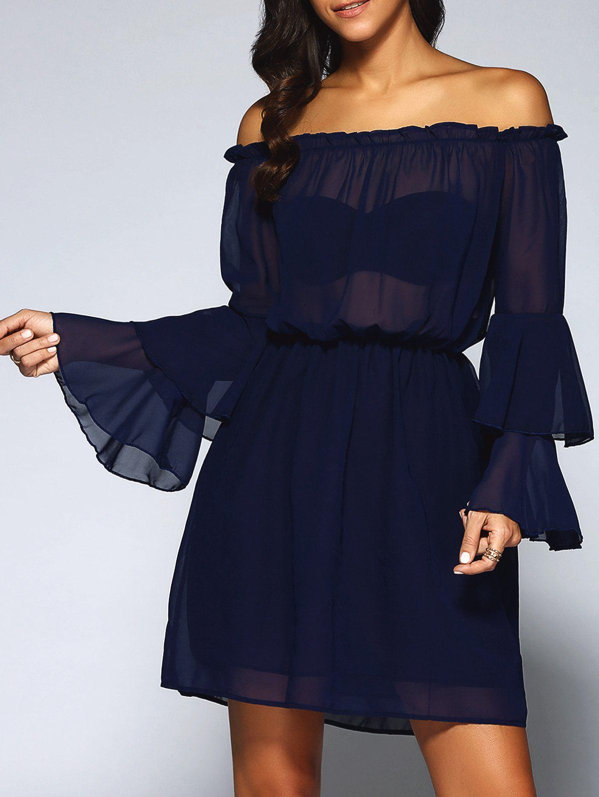 Off-The-Shoulder Layered Flare Sleeve Chiffon DressWomen<br><br><br>Size: L<br>Color: DEEP BLUE