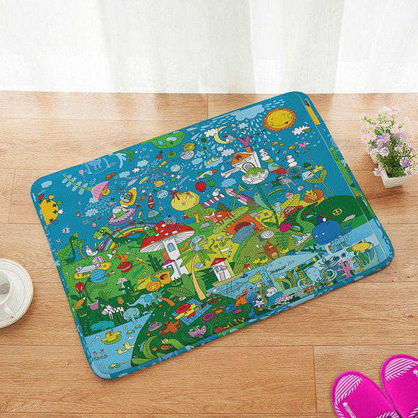 Cartoon Fairground Design Anti-slip Bathroom Doormat Carpet - COLORFUL