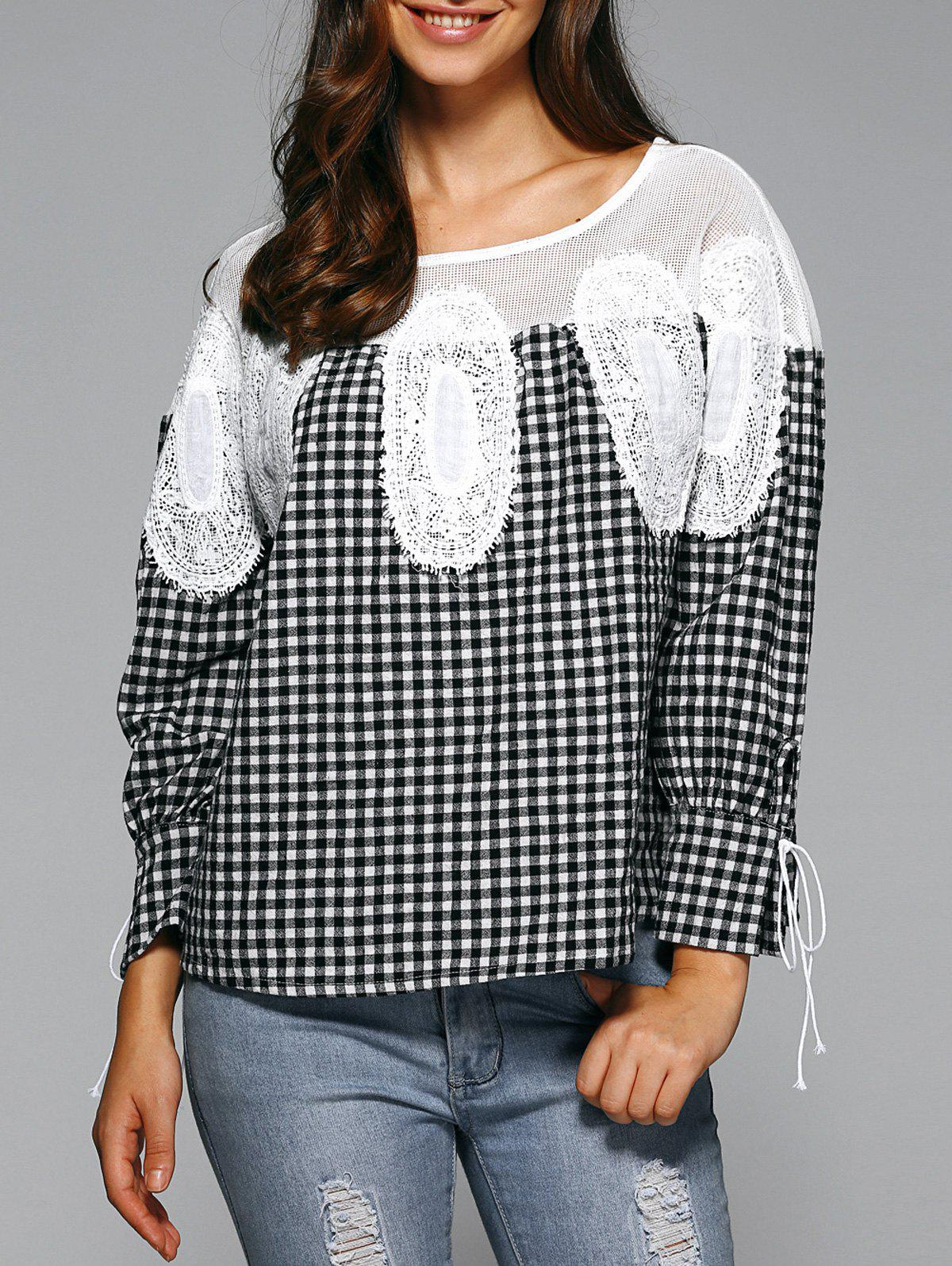 Loose Plaid Openwork BlouseWomen<br><br><br>Size: ONE SIZE<br>Color: WHITE AND BLACK