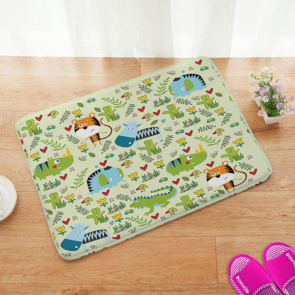 Cartoon Animal Design Anti-slip Bathroom Doormat Carpet - COLORFUL