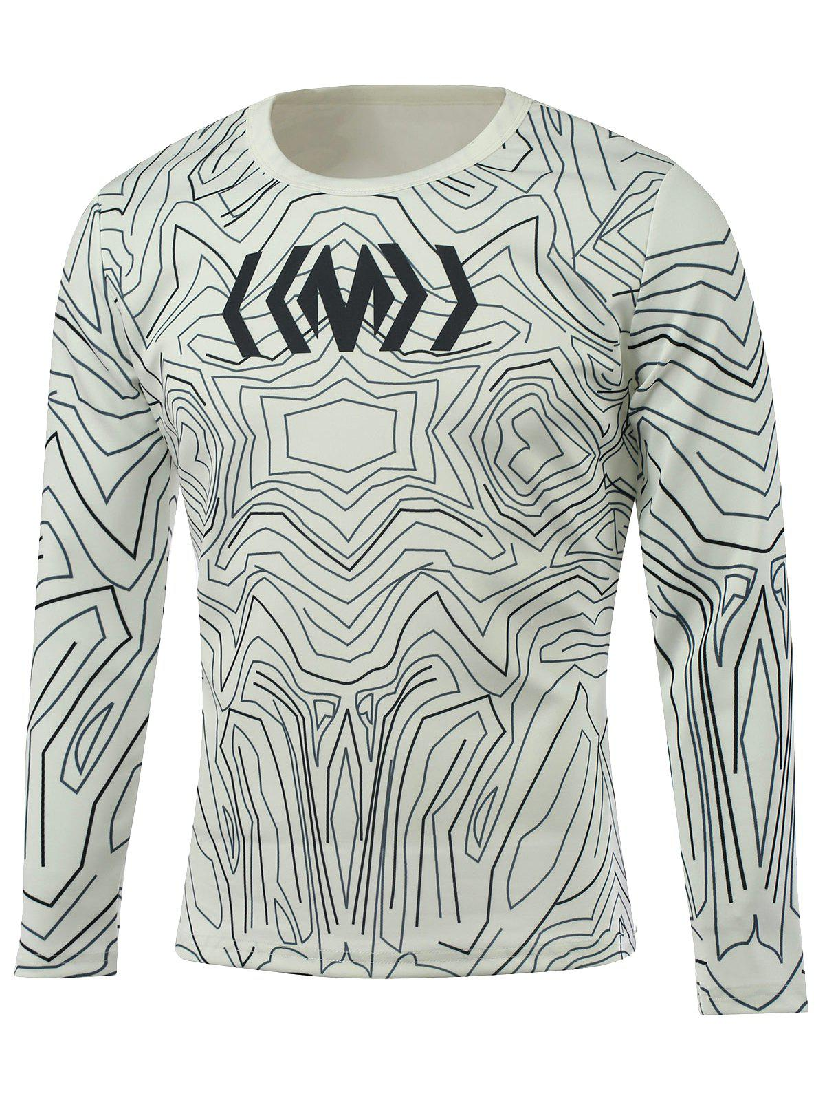 Round Neck All-Over Abstract Printed T-Shirt - WHITE XL
