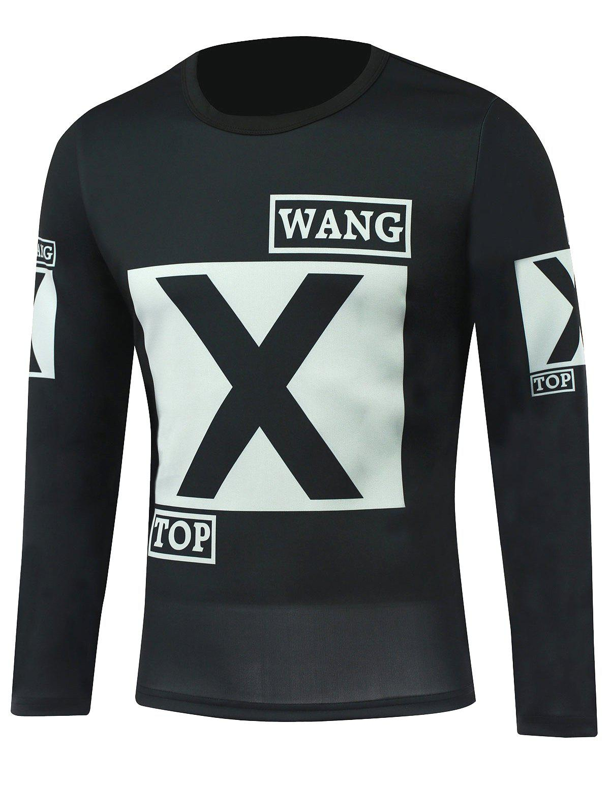Round Neck Long Sleeve Letter Printed T-Shirt - BLACK M