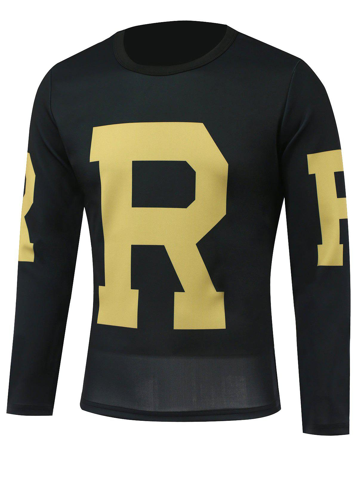 Long Sleeves Letter Printed Round Neck T-Shirt - BLACK M