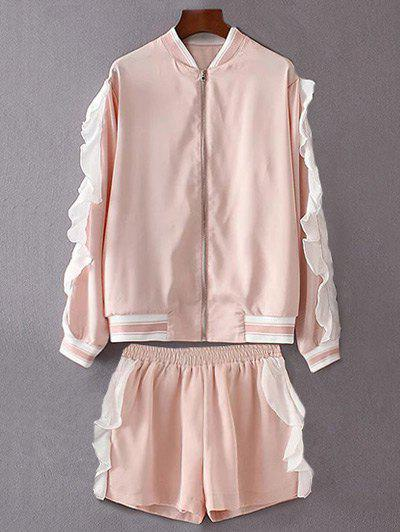 Tenez-Neck Volants Veste Shorts Twinset - ROSE PÂLE S