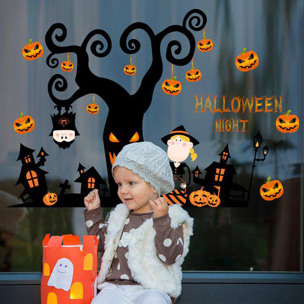 Home Decor Pumpkin Halloween Night Room Wall Sticker - BLACK