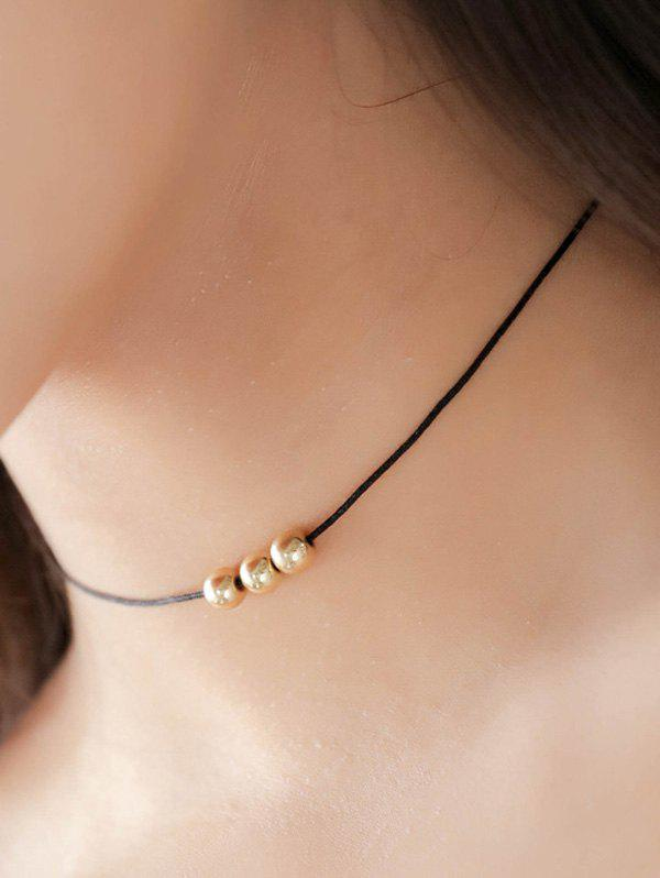 Punk Golden Beads Skinny Chokers - BLACK