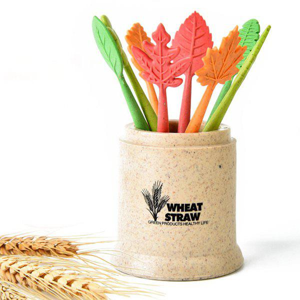 Green Biodegradable 8Pcs Natural Wheat Straw Leaves Fruit Fork Set - YELLOW