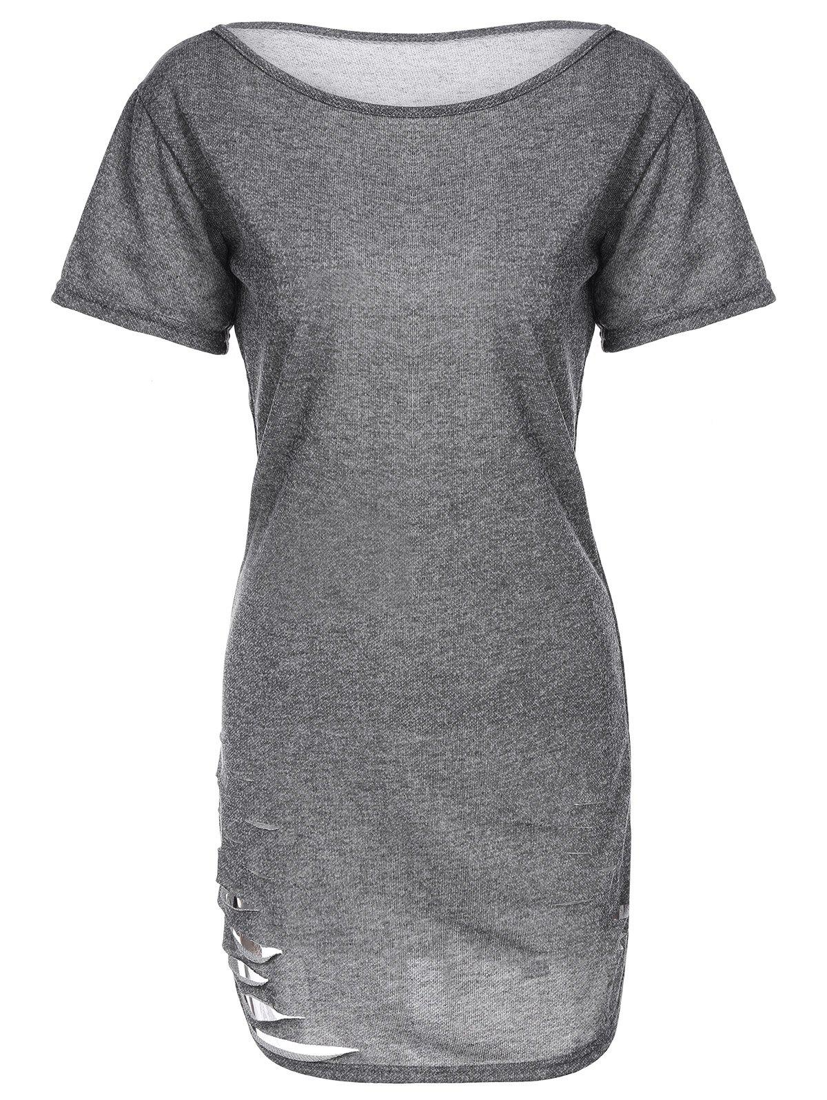 Ripped Knitting Casual DressWomen<br><br><br>Size: L<br>Color: GRAY