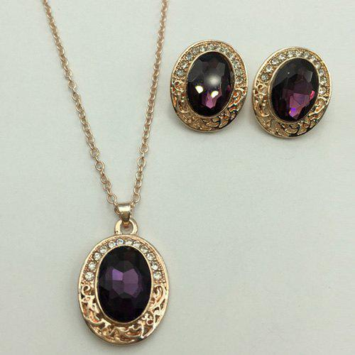 цена A Suit of Faux Gem Oval Necklace and Earrings