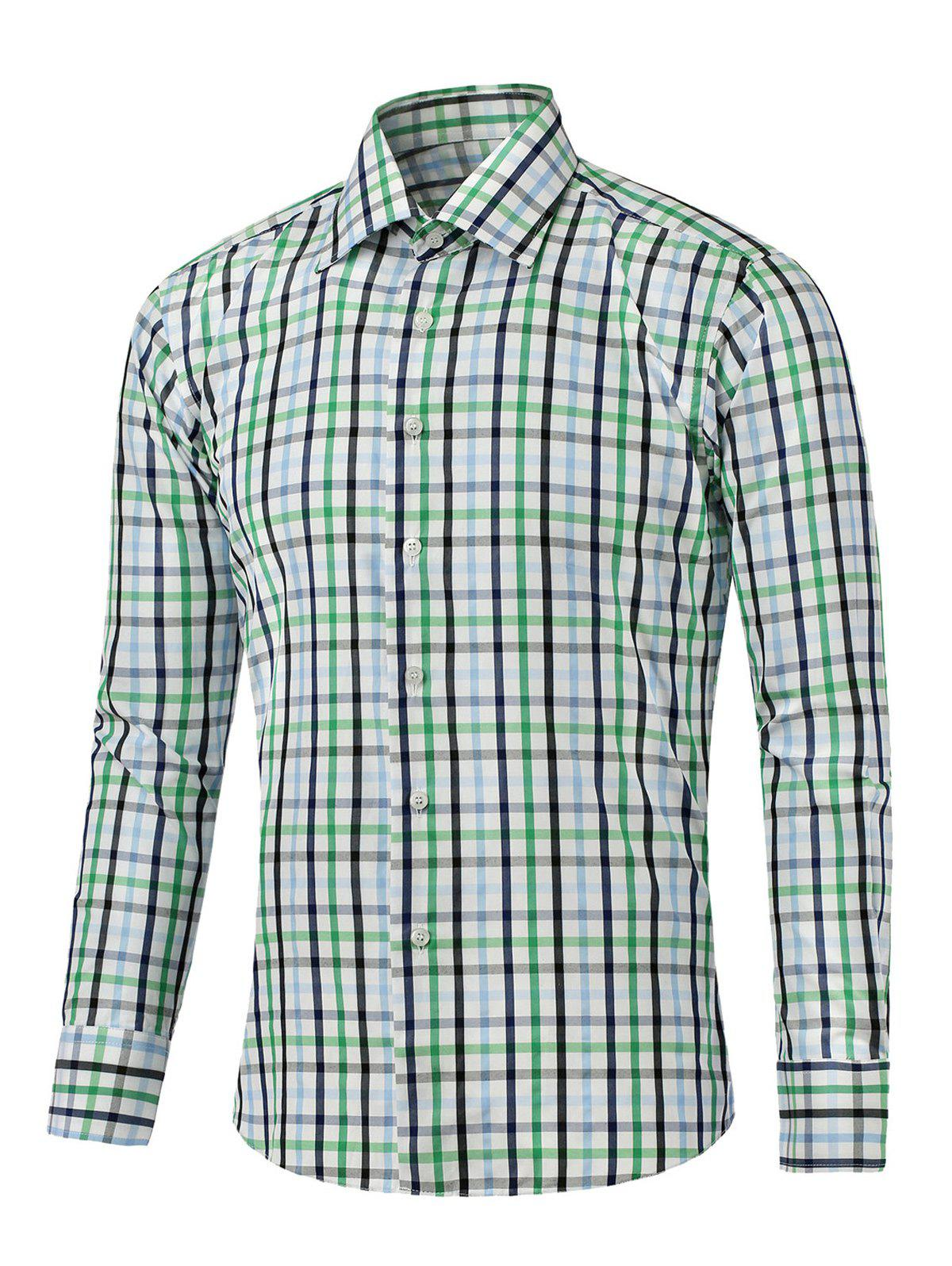 Small Plaid Turn-down Collar Long Sleeves ShirtMen<br><br><br>Size: L<br>Color: GREEN