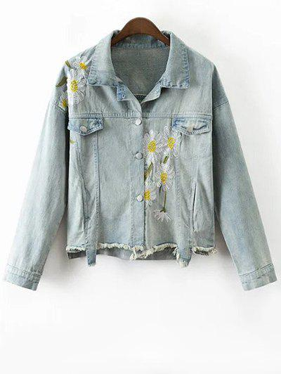 Vintage Daisy Embroidered Frayed Denim Jacket - LIGHT BLUE S