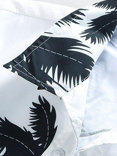Short Sleeve Tree Printed Hawaiian Shirt - WHITE 3XL