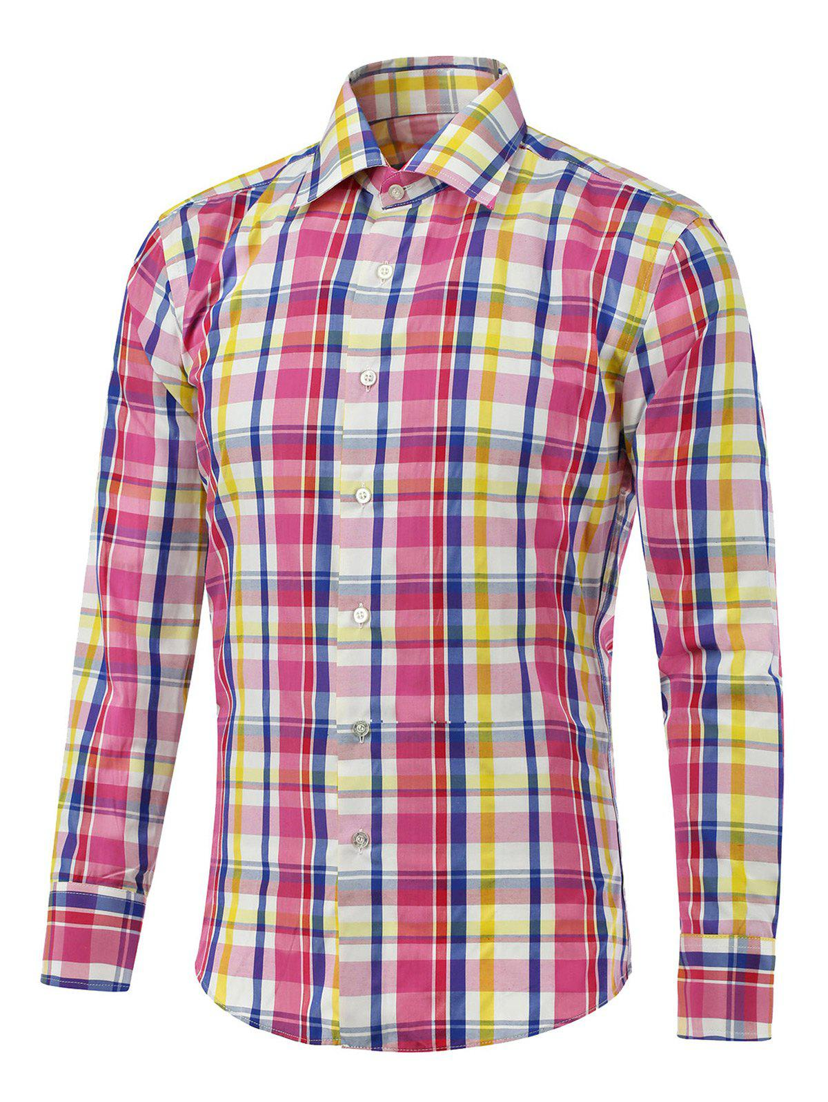 Color Splicing Long Sleeve Button Up Checked ShirtMen<br><br><br>Size: 4XL<br>Color: PINK
