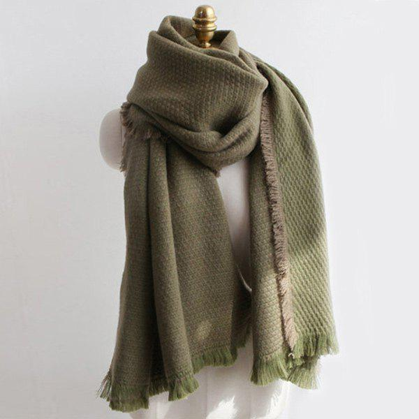 Warm Fringed Edge Weaving Shawl Wrap Scarf - ARMY GREEN