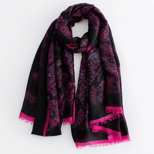 Warm Retro Flowers Pattern Fringed Edge Shawl Scarf - BLACK