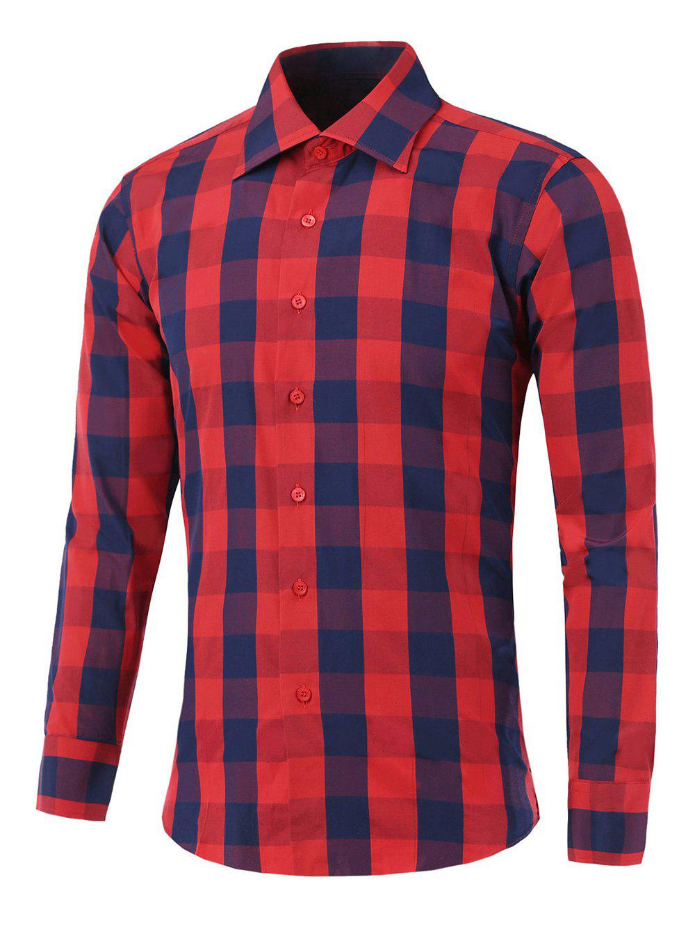 Color Spliced Long Sleeve Checked ShirtMen<br><br><br>Size: L<br>Color: RED