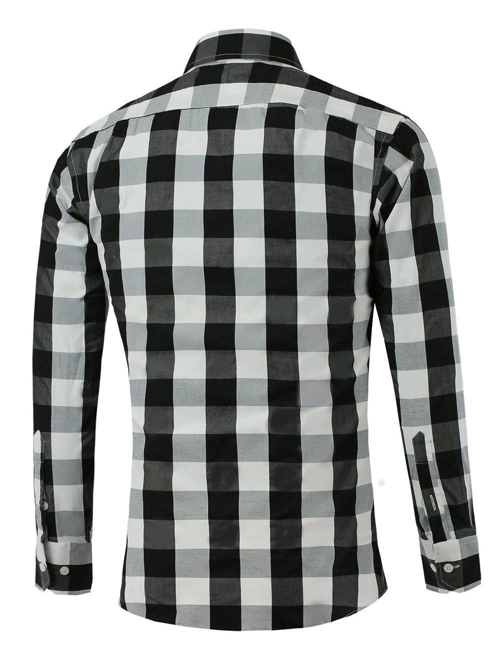 Color Spliced Long Sleeve Checked Shirt - BLACK L