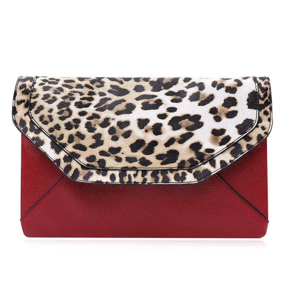 Fashionable Leopard Print and Envelope Design Crossbody Bag For Women - RED