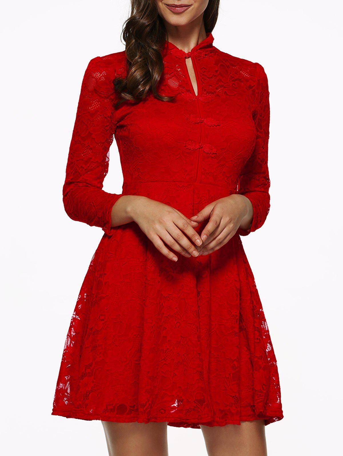 3/4 Sleeves Hollow Out Lace Dress
