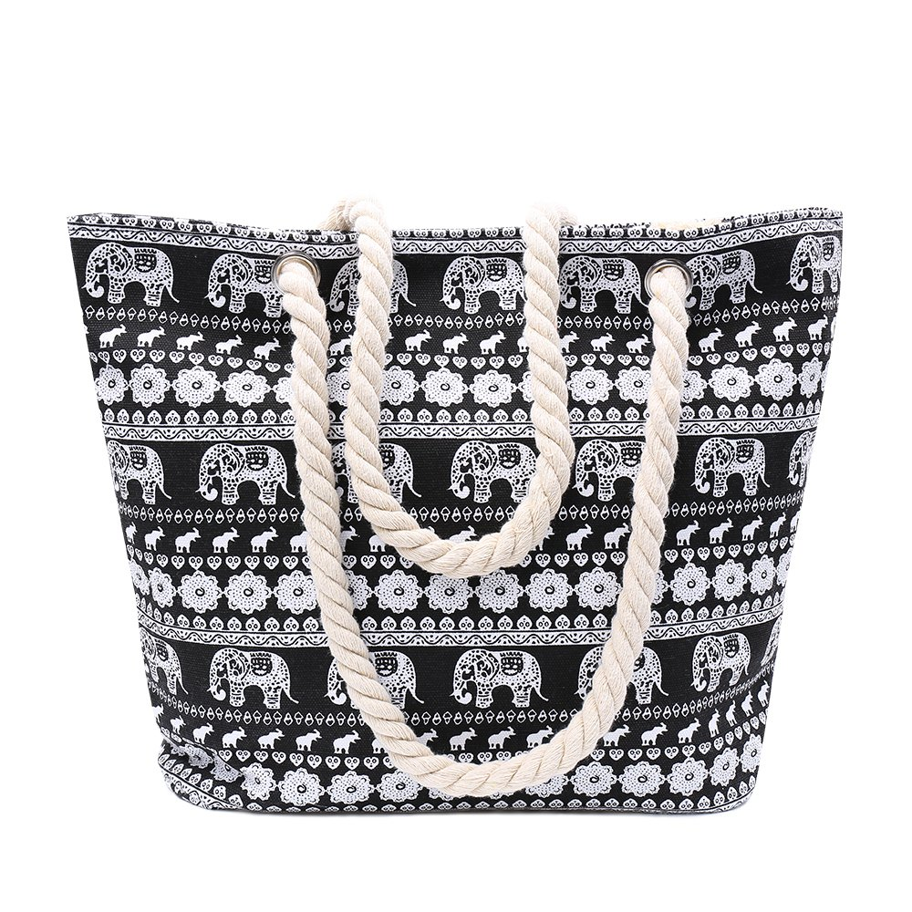 Ethnic Style Elephant Print and Black Design Women's Shoulder Bag - BLACK