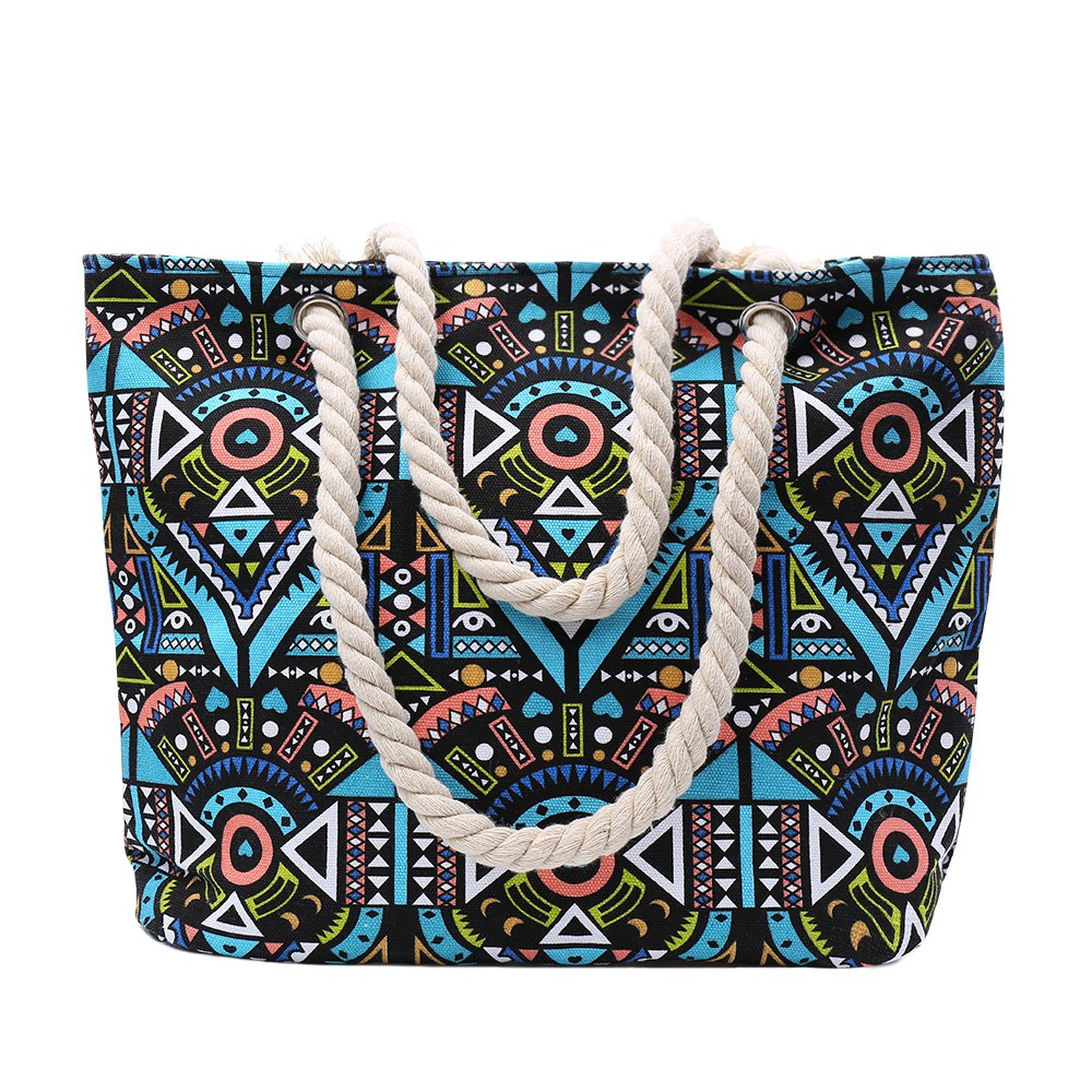 Ethnic Style Tribal Print and Color Block Design Beach Shoulder Bag - GREEN