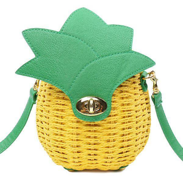 Casual Pineapple Shape and Weaving Design Women's Crossbody Bag - YELLOW