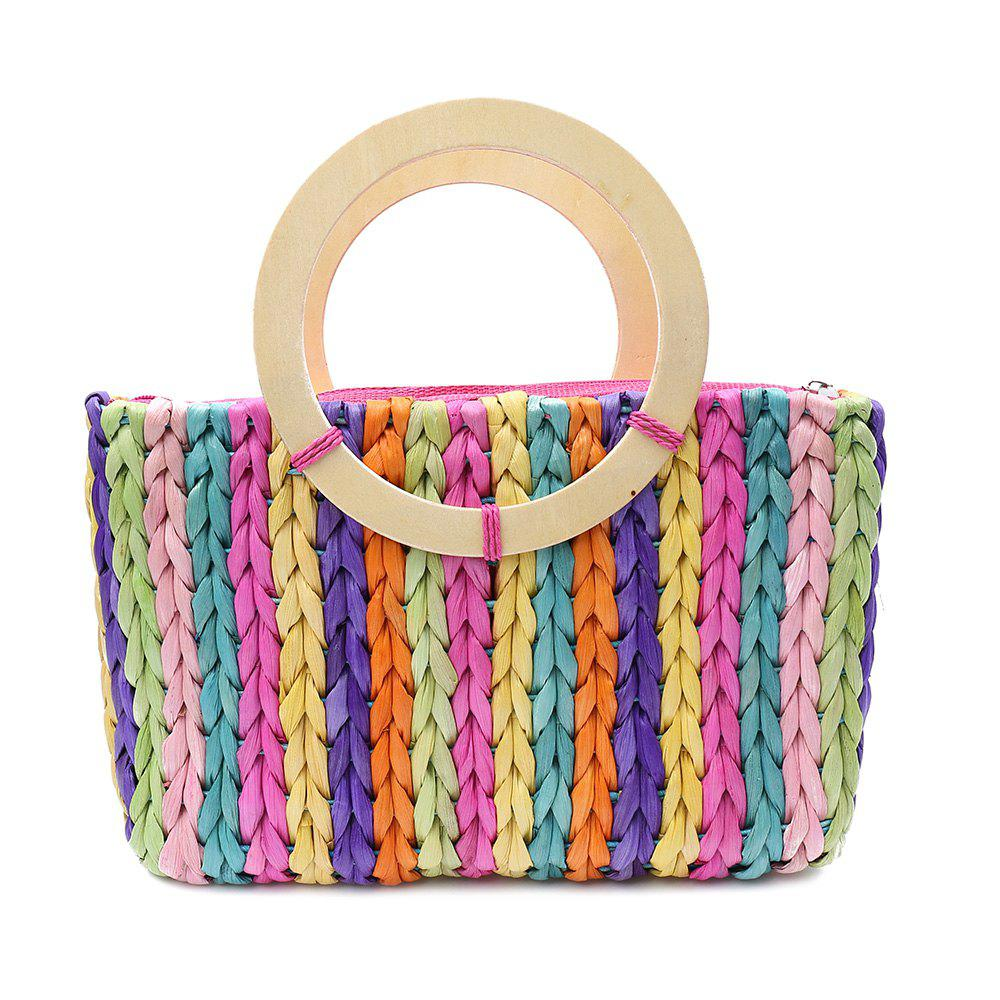Sweet Weaving and Rainbow Color Design Women's Tote Bag - COLORMIX
