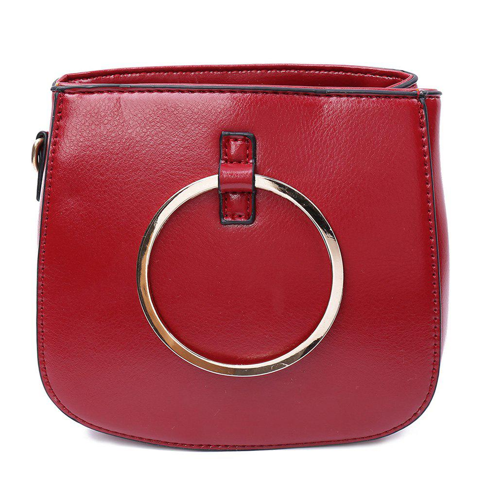 StylishMetallic Ring and Solid Color Design Women's Tote Bag - WINE RED