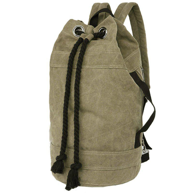 Concise Canvas and Drawstring Design Men's Backpack - KHAKI