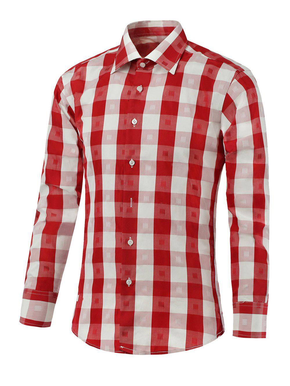 Button Up Two-Tone Checked Shirt - RED M