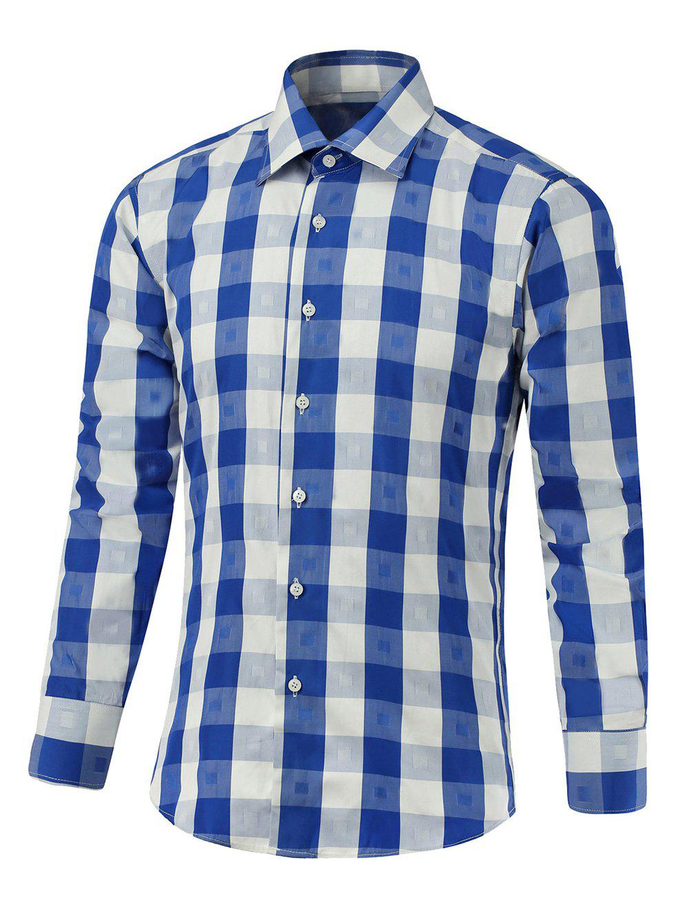 Button Up Two-Tone Checked Shirt