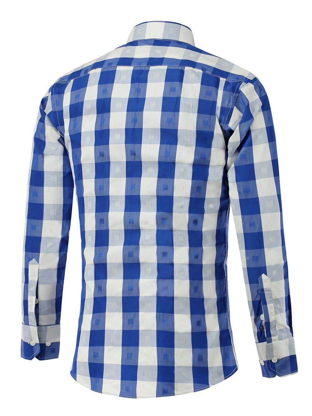 Button Up Two-Tone Checked Shirt - BLUE 3XL