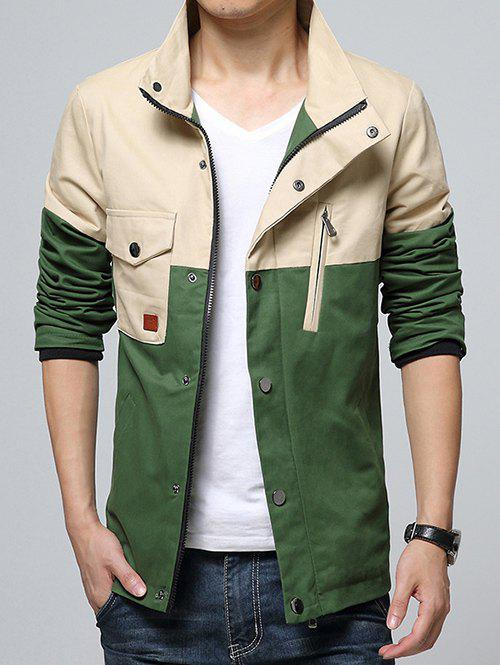 Stand Collar Pocket Color Block Splicing Design Zip-Up Jacket - GREEN 2XL