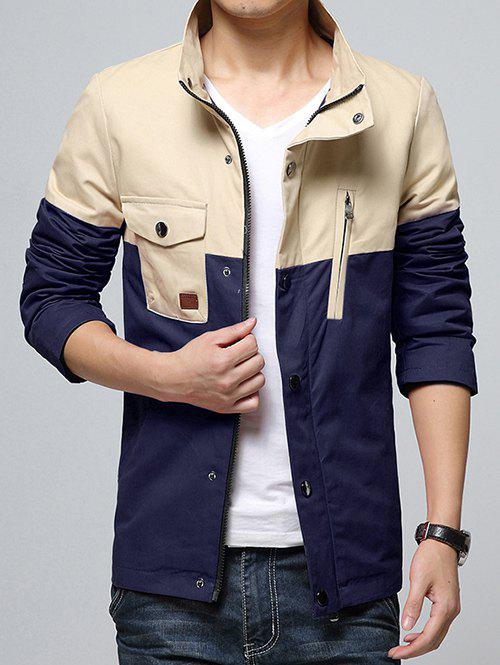 Stand Collar Pocket Color Block Splicing Design Zip-Up Jacket - BLUE XL