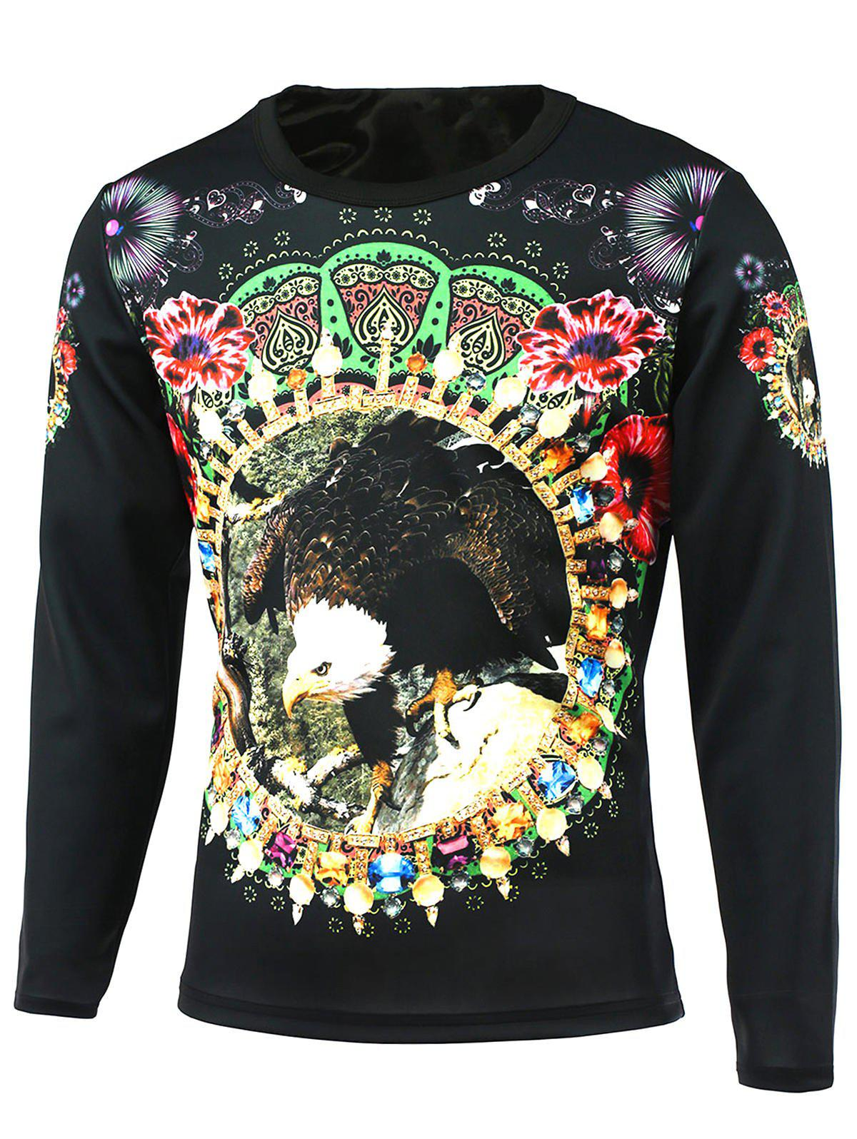 Long Sleeve Floral 3D Bird Print Round Neck T-Shirt plus size bird and floral print v neck long sleeve t shirt