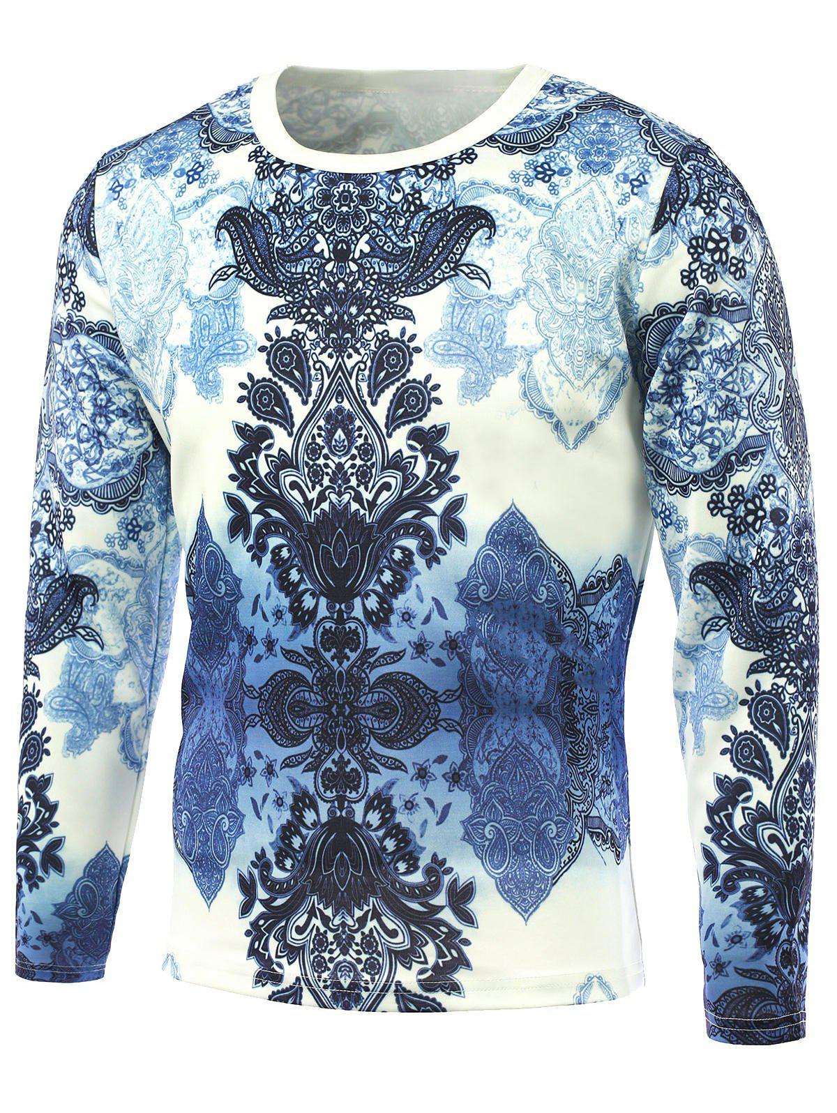 Long Sleeve Retro Flower Printed T-Shirt - BLUE 5XL